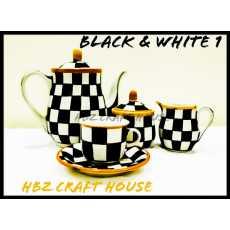 Black & White Blue Pottery Hand Made Tea Set |006
