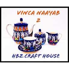 Vinca Naayab 2 Hand Made Blue Pottery Tea Set |007