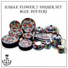 Jungle Flower Blue Pottery Hand Made Dinner Set