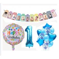 1st Birthday Baby Boy 1 to 12 Month Banner Happy Birthday Foil balloons Happy...