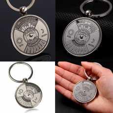 Perpetual Calendar Keychain Metal 50 Years Calendar Keyring Key Chain